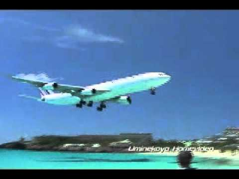 Take off and  landing  in St. Maarten, Netherlands Antilles
