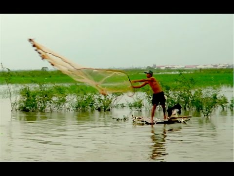 Cast Net Fishing in Cambodia - Sa'ang District Kandal Province