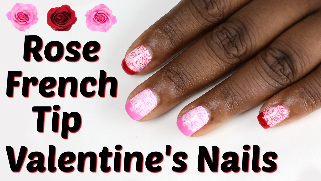 Rose French Tip Valentine\'s Nails | TakiyahLouise - YouTube