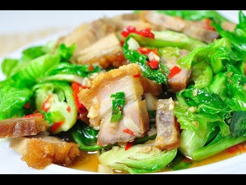 Thai Food - Fried Brussel Sprout with Crispy Pork (Pad Kanang Moo Grob)