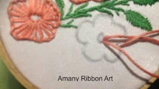 Handmade embroidery  Amany Ribbon Art 40 تطريز يدوي غرزة البطانيه بشكل جديد