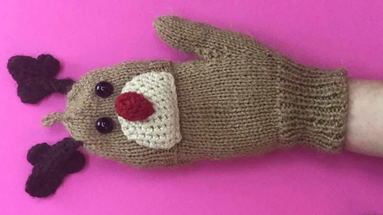 CHRISTMAS GLOVES PART 1 - Fingerless Gloves With Rudolph design ...