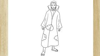 COMO DESENHAR O HIDAN/AKATSUKI DE NARUTO /// HOW TO DRAW HIDAN/AKATSUKI FROM NARUTO