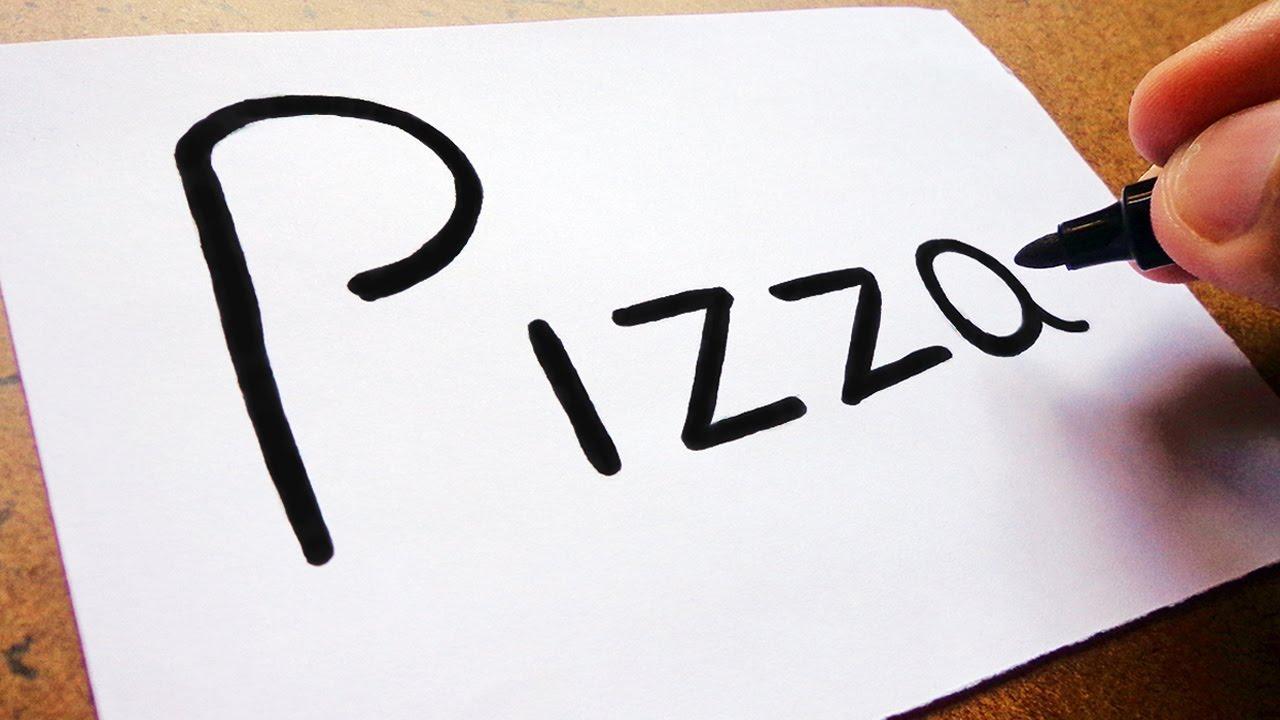 """Como Desenhar Coisa Amorosa: COMO Transformar A Palavra """"PIZZA"""" Em Uma Pizza🍕 , TRUQUES"""