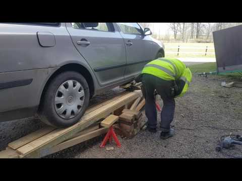Car service ramp homemade from wood part 2