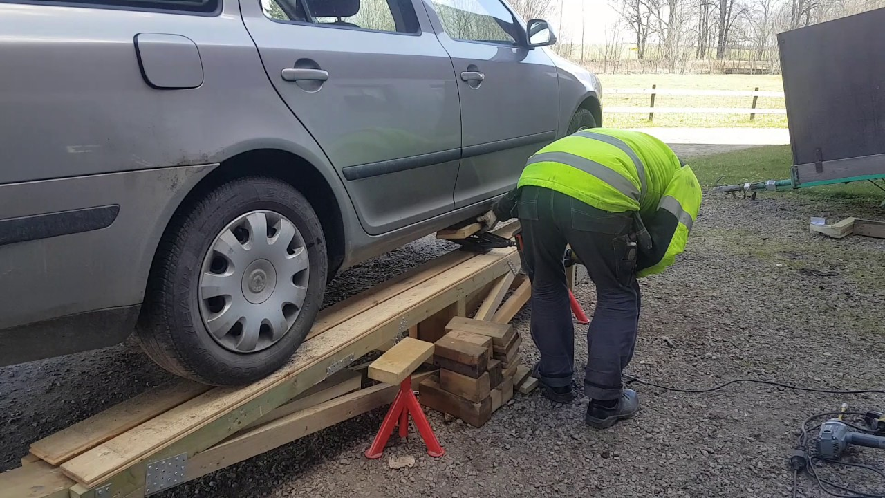 Car Service Ramp Homemade From Wood Part 2 Youtube