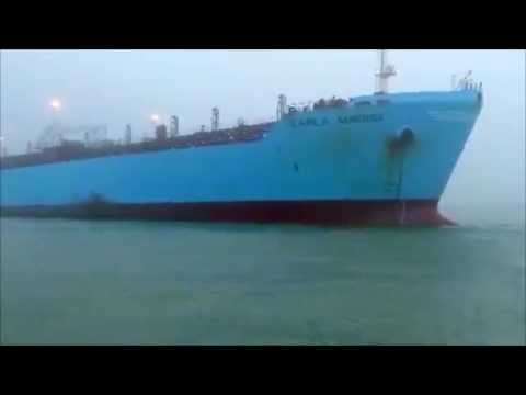 Chemical leaking tanker Carla Maersk After Collision in Houston Ship Channel