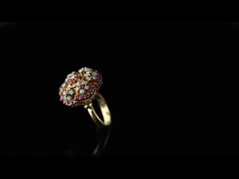 Vintage Ruby Opal Diamond Cocktail Ring