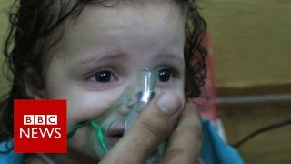 Footage shows 'chlorine attack' aftermath in Syria - BBC News