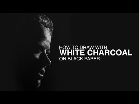 How to draw with white charcoal on black paper portrait drawing