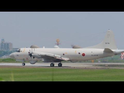 厚木基地の空 73 13/7/15EP3 #73 離陸YS11M着陸進入はフェンス越し
