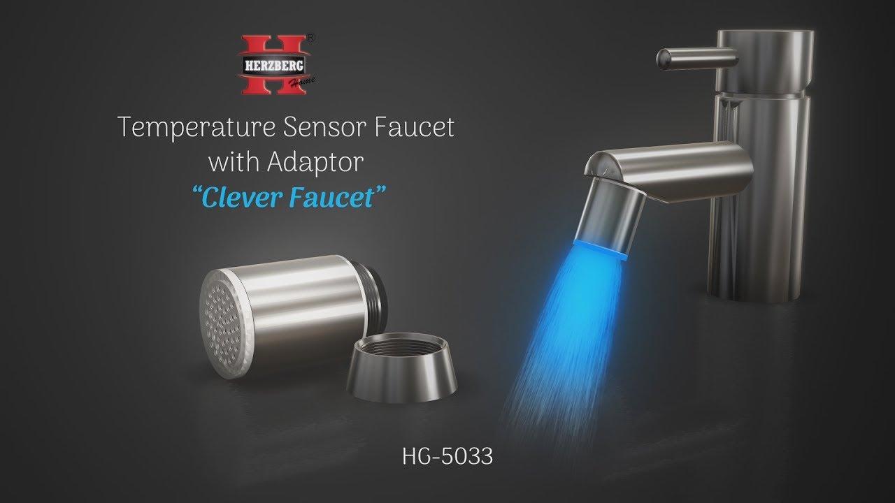 Temperature Sensor Faucet with Adaptor Herzberg HG-5033 - YouTube