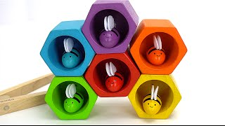 Learn Colors & Sorting with Preschool Toy Bees and Beehive!