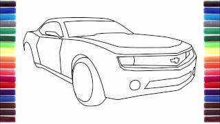 How to draw a car Tesla Model S, Nissan GTR, Chevrolet Camaro
