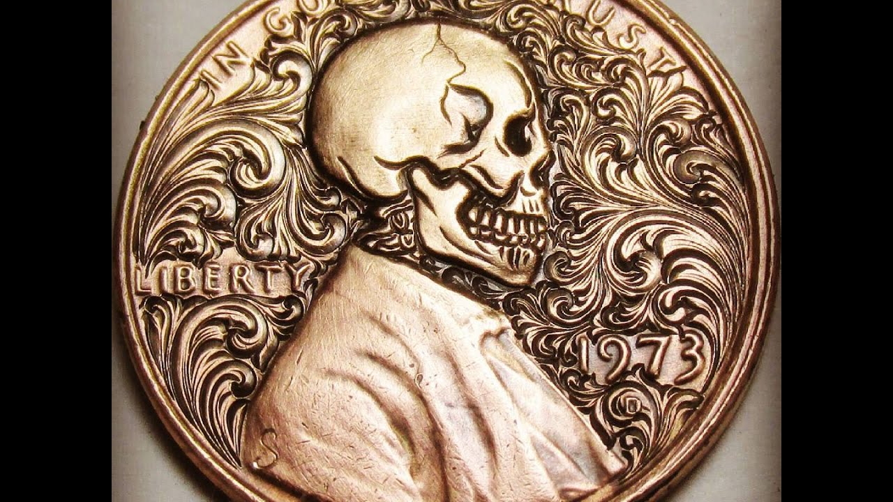 carving a skull onto a penny from start to finish youtube