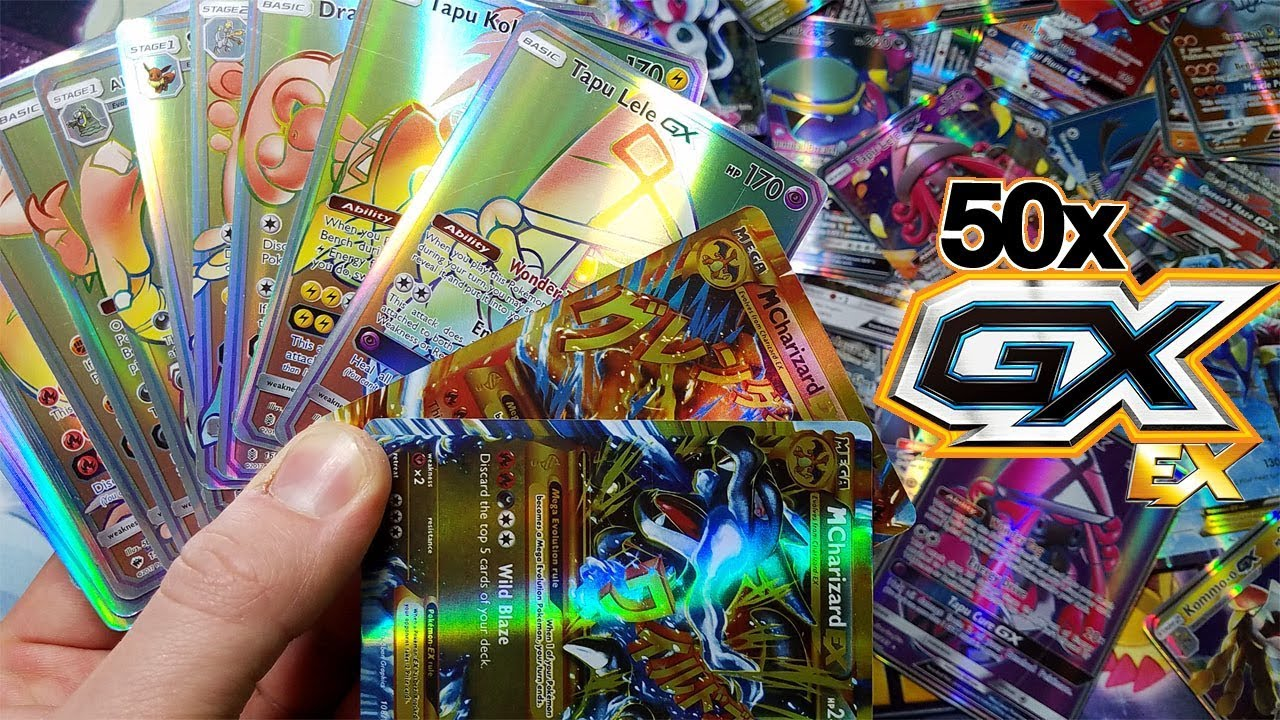 Mega Charizard Ex Hyper Rare Tapu Lele Gx More 50 Ex Gx Ultra Rare Pokemon Booster Pack Opening