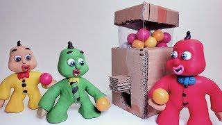 KIDS BUILD CARTOON GUMBALL MACHINE - Superhero Animations Play Doh & Clay Stop Motions