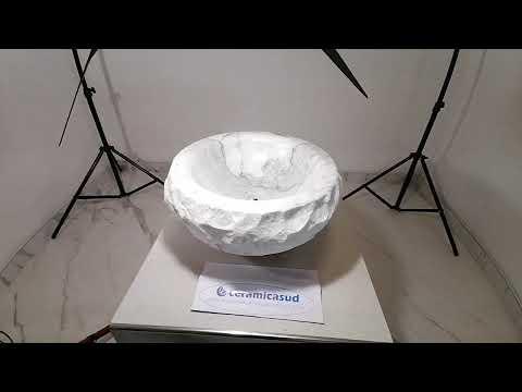 Lavabo da appoggio in vero marmo di Carrara 45 x h. 15 cm. - N. prodotto: 84451