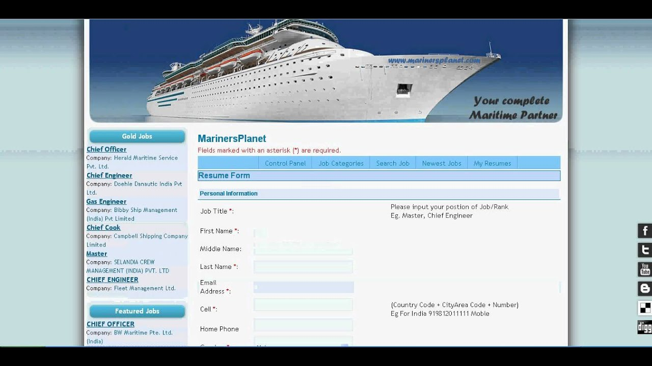 jobs merchant navy marine maritime resume cv upload youtube