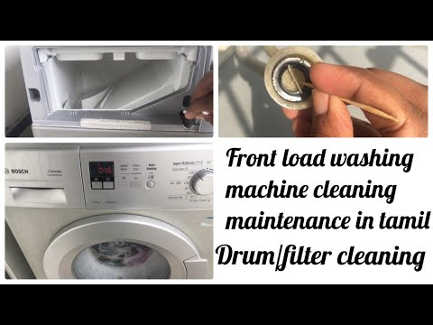 Washing machine cleaning in tamil//front load washing machine maintenance  wit vinegar\bakingsoda