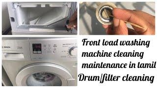 Washing machine cleaning in tamil//front load washing machine maintenance  wit vinegar\bakingsoda