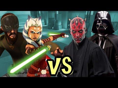 Kanan Blind And Ahoka Vs Darth Vader And Darth Maul - KOTF Ai Battle