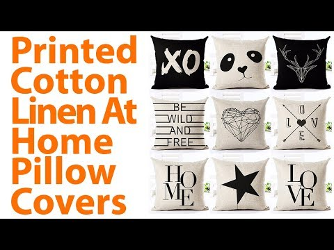 Printed Cotton Linen At Home Pillow Covers