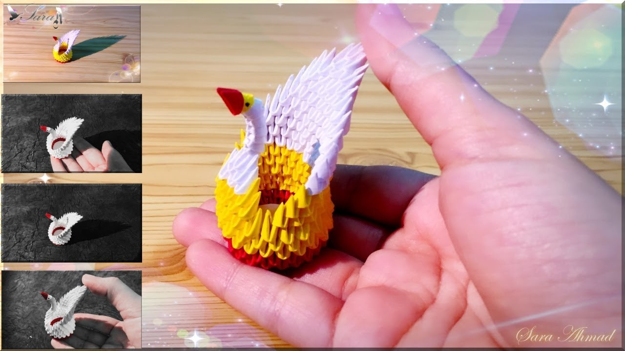 How to make 3D origami easy swan | Origami easy, 3d origami, Origami | 720x1280