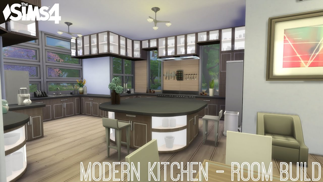 The Sims 4 Modern Kitchen Room Build - YouTube