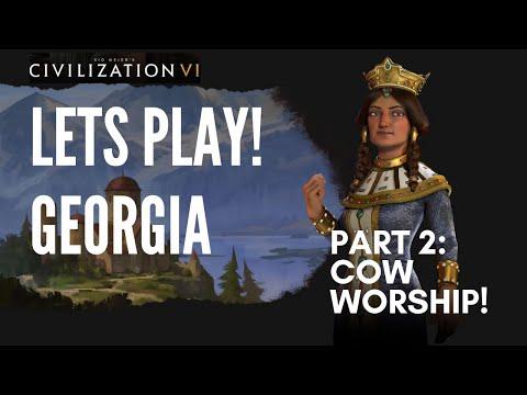Let's Play Civilization 6 - Deity Georgia - Part 2: COW Worship!