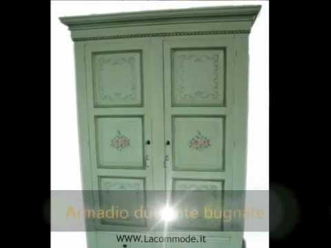 Armadio 2 ante dipinto laccato decorato in stile veneziano - YouTube