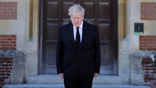 video: Watch: Boris Johnson observes minute of silence for Prince Philip at start of funeral