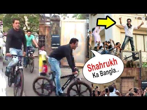 Salman Khan Shouts 'Shahrukh Ka Bungalow' Cycling In Front Of SRK's House Mannat In Bandra