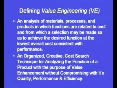 Mod-4 Lec-17 Value Engineering