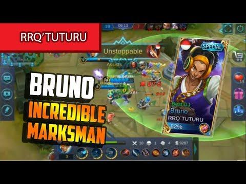 The Incredible Marksman Player! TUTURU! Build By RRQ'TUTURU Bruno Gameplay - Mobile Legends