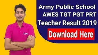 Army Public School AWES Result 2019    APS AWES TGT PGT & PRT Result 2019    Download Now