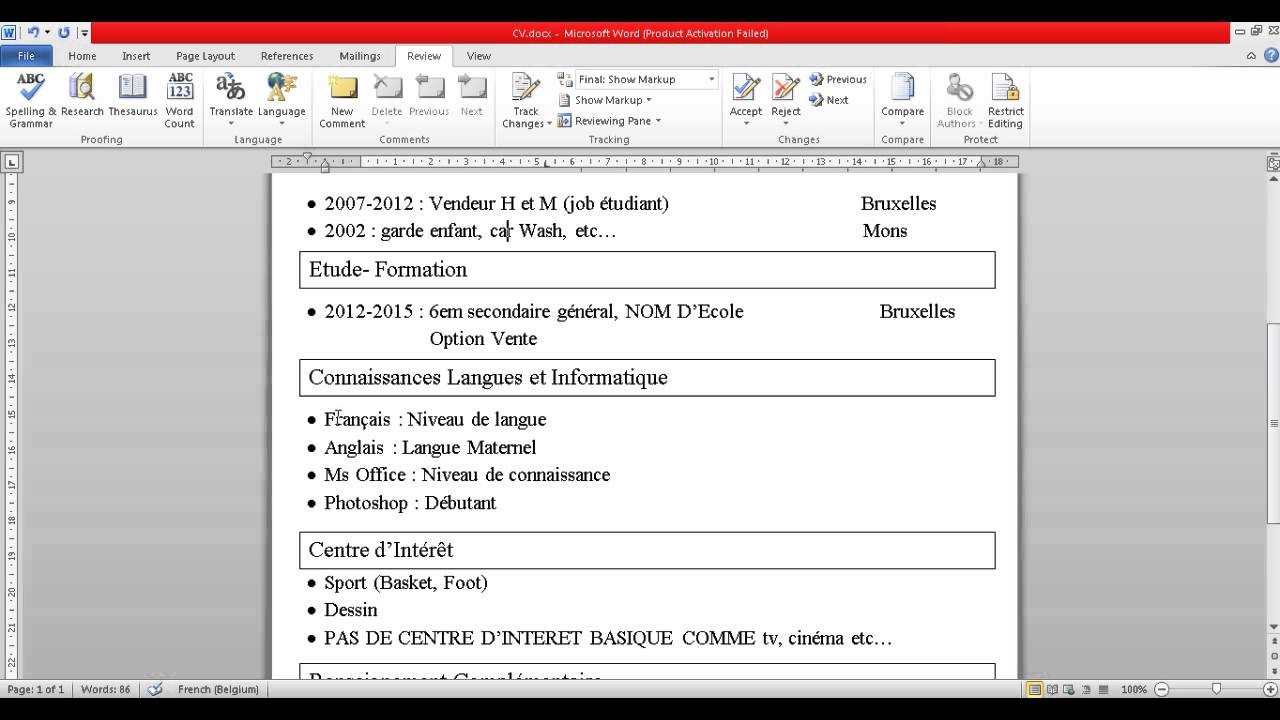 Comment fair un cv sur word - Comment faire un organigramme sur open office ...