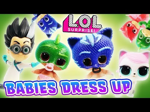 LOL Surprise Dolls Dress up as PJ Masks and Fight Crime! Starring Lil Kitty Queen, Owlette & Gekko!
