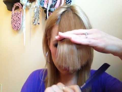 How To Cut Perfect Side Swept Bangs Youtube