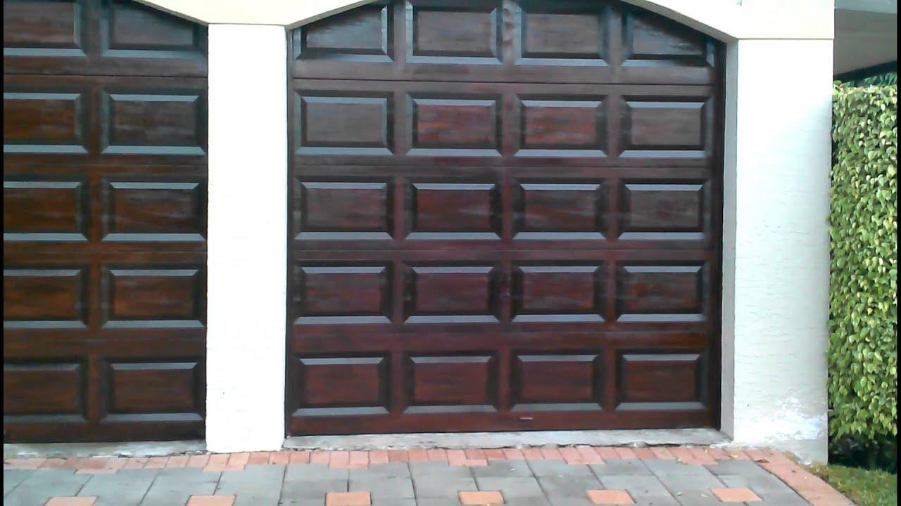 Garage doors rich mahogany gel stain wood finish - YouTube