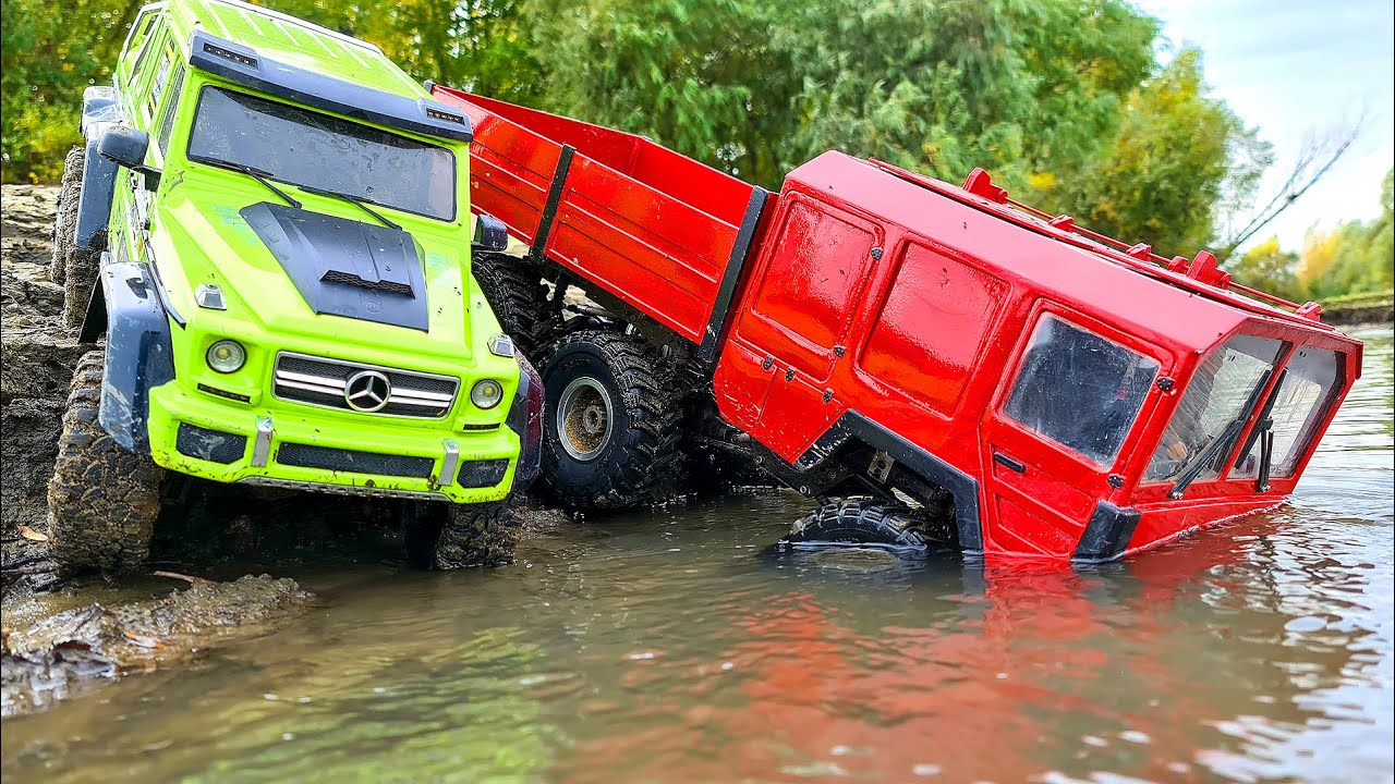 Mercedes G63 6x6 and MAN KAT 6x6 Cross River Action