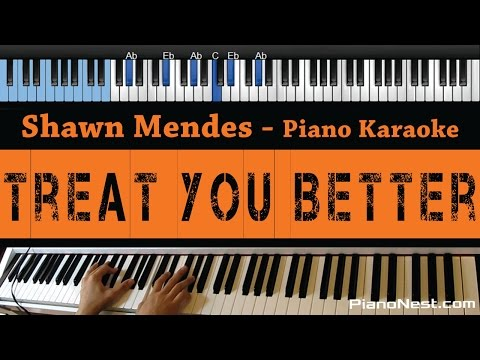 Shawn Mendes - Treat You Better - LOWER Key (Piano Karaoke / Sing Along)