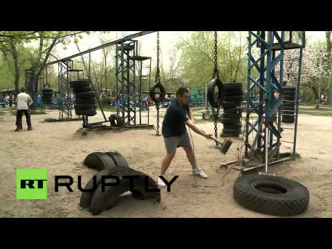 Ukraine: Forget paying for gyms to pump iron - lift scrap metal