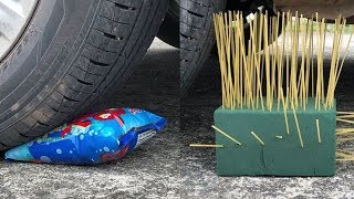 CRUSHING CRUNCHY & SOFT THINGS By CAR! - FLORAL FOAM, JELLY, SNACK and More! SATISFYING ASMR
