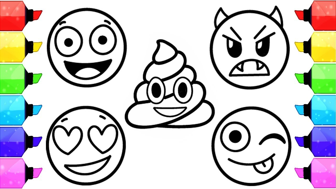 emoji coloring pages how to draw and color emoji faces kids learn colors with coloring pages