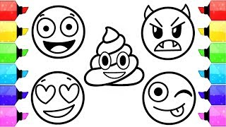 EMOJI Coloring Pages | How To Draw and Color Emoji Faces - Kids Learn Colors with Coloring Pages