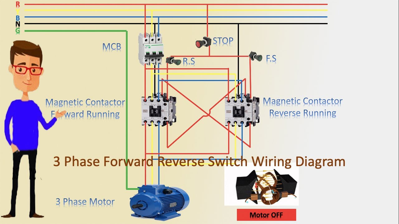 3 Phase Forward Reverse Switch Wiring Diagram Contactor Wiring Motor Wiring Youtube