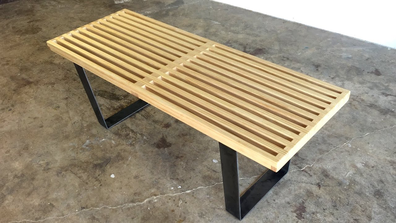 diy modern slatted bench modern builds ep 39 youtube