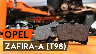 Kā nomainīt priekšējās bremžu kluči / bremžu uzlikas OPEL ZAFIRA-A 1 (T98) [AUTODOC VIDEOPAMĀCĪBA]
