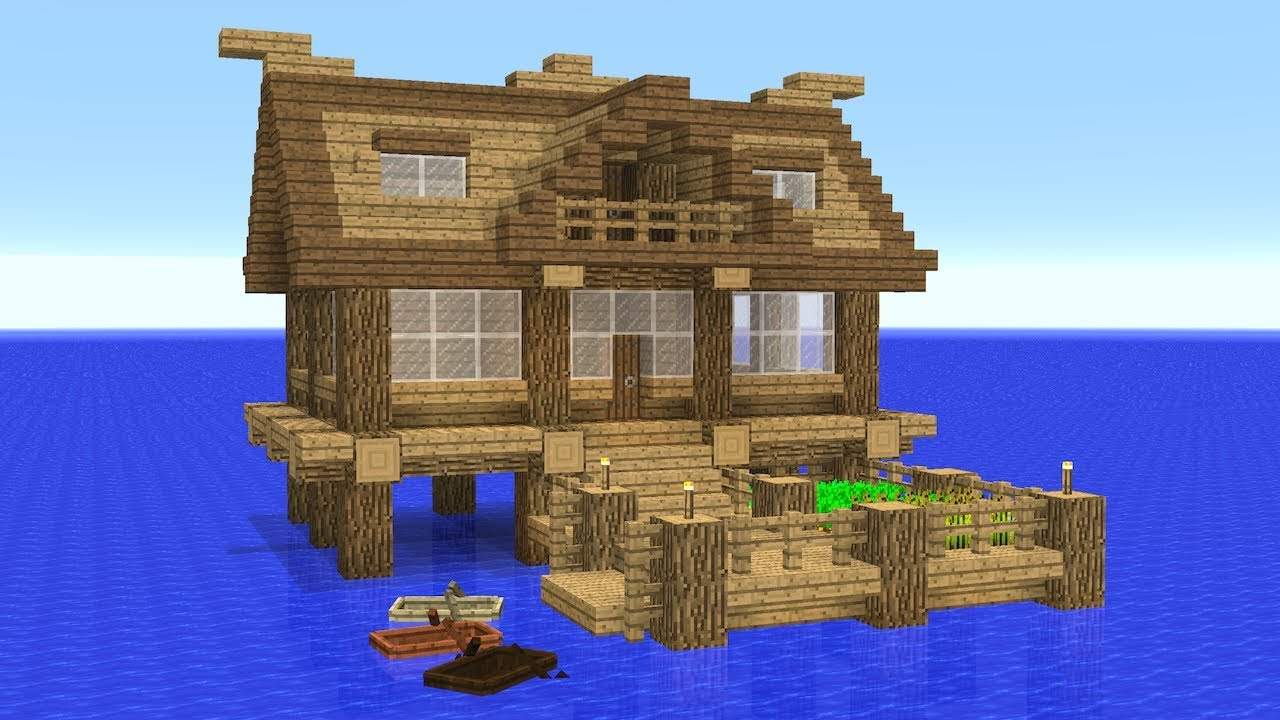 Minecraft How To Build A Stilts House On Water Youtube